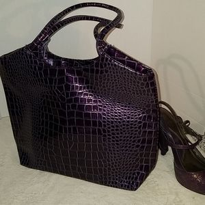 Neiman Marcus purple tote purse